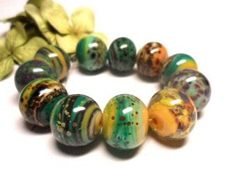 Lampwork Glass bead handmade  Beads brown  turquoise  green.