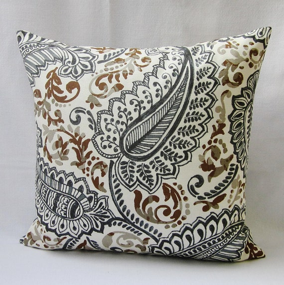 brown paisley pillow cover gray charcoal decorative throw. Black Bedroom Furniture Sets. Home Design Ideas