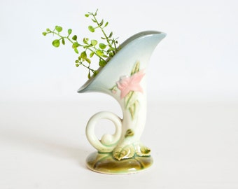 Vintage Hull Woodland Cornucopia Vase, Small Horn Vase Blue Green with Pink Flowers, Signed W2