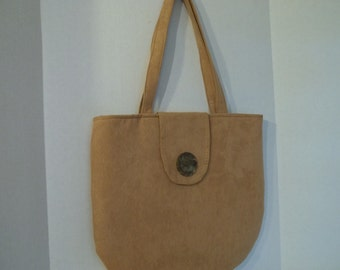 Faux Seude Tote w/Button Flap, Stripped Lining  Free Shipping