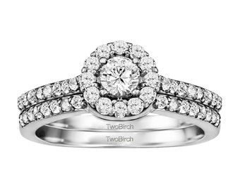 Round Halo Engagement Ring Set Including Matching Wedding Ring - 10k Gold with Cubic Zirconia - Bridal Set - Perfect Gift
