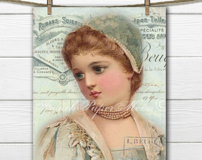 Victorian Girl Digital Download, Romantic French Collage, French Ephemera Digital Sheet