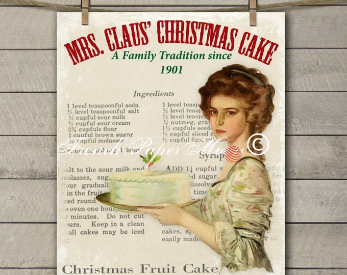 Adorable Retro Christmas Printable, Mrs Claus Download, Vintage Christmas Cake Instant Download Image Transfer