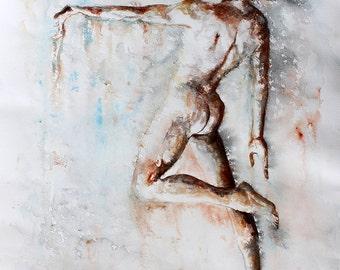 Original Watercolor Painting - Playing . Ballet dancer.