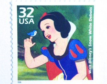 5 Unused Snow White Postage Stamps // Vintage Disney Princess Stamps for Mailing