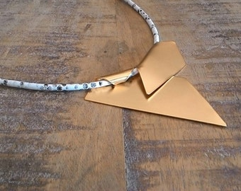 Geometric Gold Necklace, Geometric Pendant, Geometric Necklace, Gold Pendant, Statement Leather Necklace