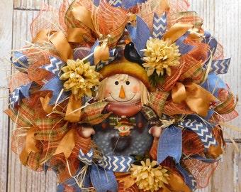 FARMER BOB Fall DecoMesh Front Door Wreath