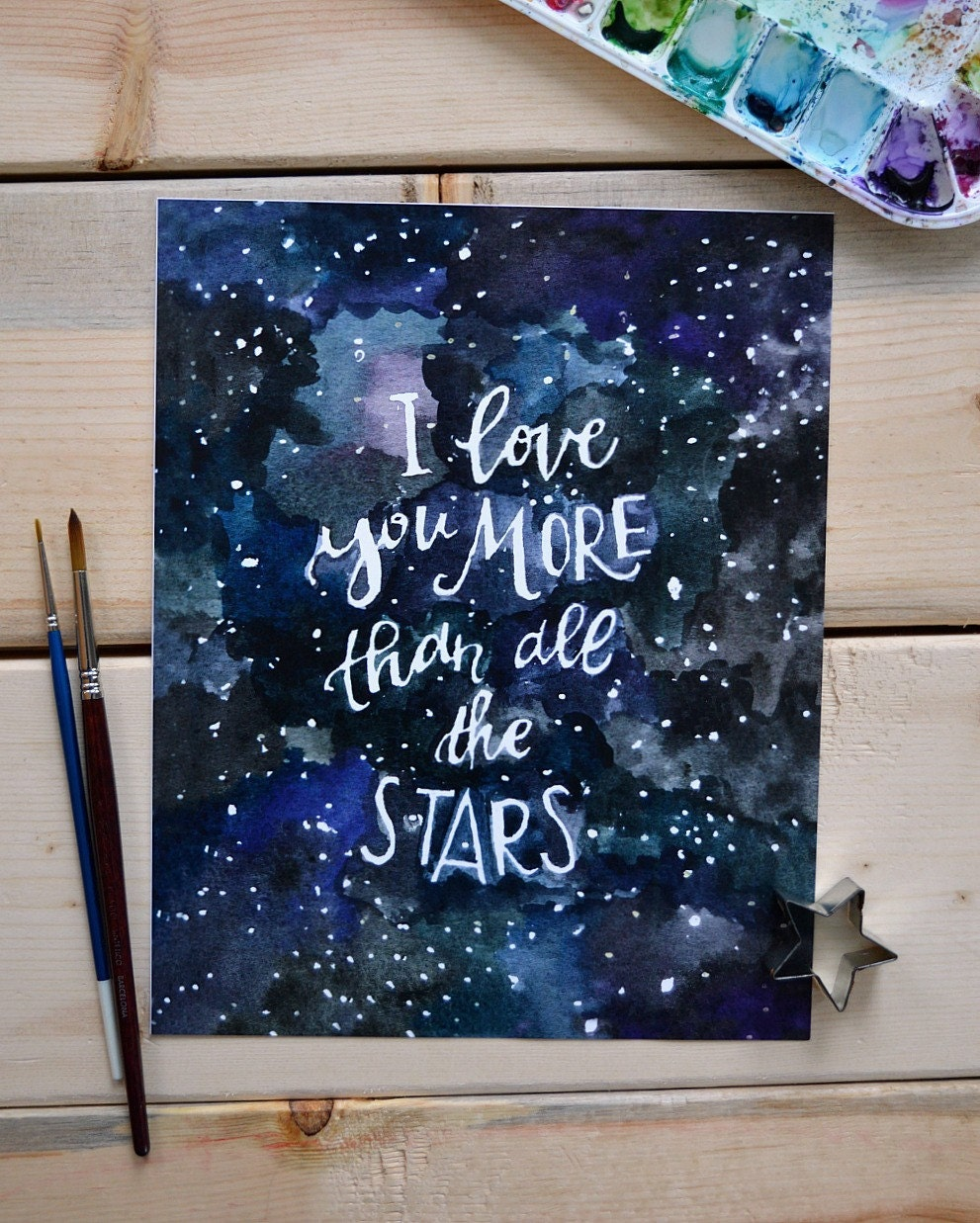 Outer space art nursery art nursery decor love art print for Outer painting design