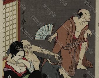 "Original  Japanese Woodblock Print  Ukiyo-e ""Utagawa Toyokuni"""