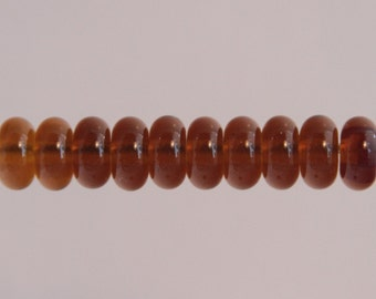 Amber Lampwork Glass Bead Spacers Donut MADE TO ORDER