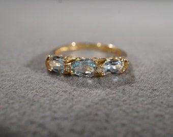 Vintage 10 K Yellow Gold Wedding Band Ring 3 Oval Blue Topaz 2 Round Diamond Stacker Style, Size 7