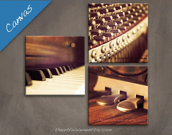Music room décor, Piano art, Canvas Wall art set, Musician gifts, Piano gifts, Music photography, Set of 3 wall art // Piano canvas set