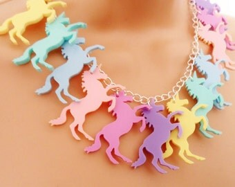 Pastel unicorn charm necklace