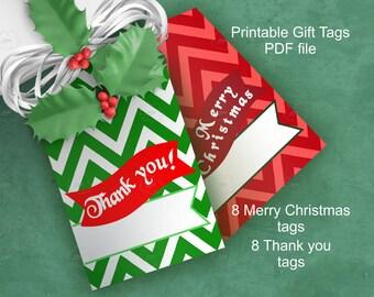 Merry Christmas Thank you Chevron Hang Gift Tag, text over bunting, Christmas colors, edit text, printable digital goods, download
