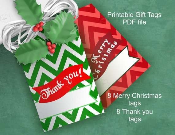 Merry Christmas, thank you, chevron hang gift tag, text over bunting, Christmas colors, printable, digital paper goods, instant download