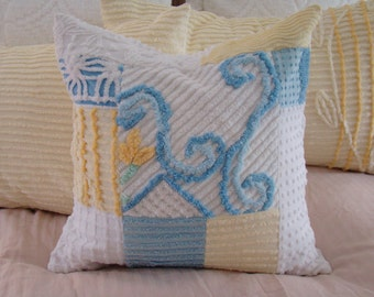 """SALE-Yellow, Blue And White Patchwork Pillow Cover for 20"""" Pillow Insert Was 35.00 Now 30.00"""