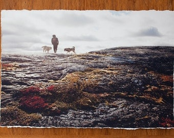 Autumn landscape with man and dogs 12.5x19 inch giclee fine art photography print with torn edge