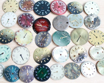 """vintage watch faces 0.8-1 """" /  set of 32  watch faces USSR /  watches dials / circle dials / Old Vintage watch parts ... steampunk supplies"""