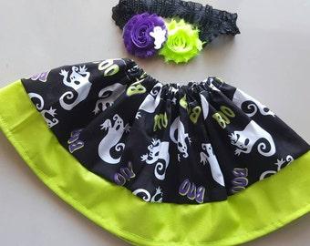 BOO . 2 PIECES.  Baby Girl Skirt.  Halloween Skirt.  Skirt and Headband.  Halloween Outfit.  Halloween Headband.