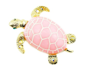 Pink Turtle Brooch, Pink and Gold Turtle Brooch, Sea Turtle Brooch, Rhinestone Turtle Brooch