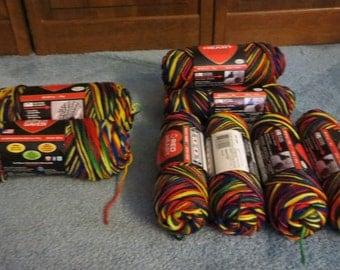 Vtg Mexicana ombre skeins of acrylic yarn in 3, 5 and 6 oz skeins-Discount available on all 9 skeins, seven 3 oz, one 5 oz, one 6 oz skein