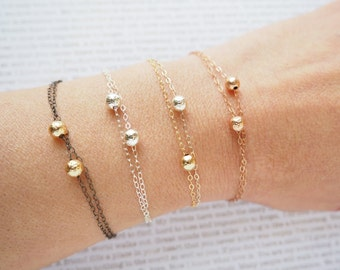 Double Bracelet, Two Balls Bracelet Available in Sterling Silver, Gold Filled, Rose Gold Filled and Oxidized Silver and Gold