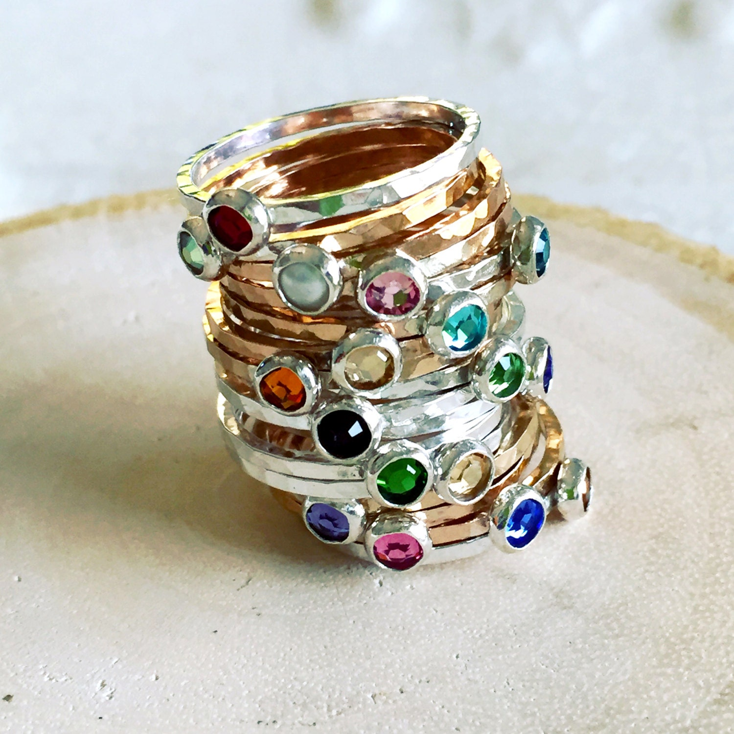 personalized birthstone rings new mom stacking rings. Black Bedroom Furniture Sets. Home Design Ideas
