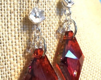 Large Rust Red Swarovski Crystal Drops with Clear Rondelle Accents on Hills Tribe Fine Silver Flower Pattern Earrings Fine Silver Earrings