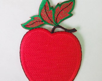 "Embroidered Red Apple Iron on Patch (2 1/8"" x 3 3/8"")"