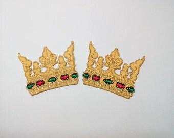 "Set of 2 Pieces Crown Iron on Patch Applique (1 3/4"" x 1 3/8"")"