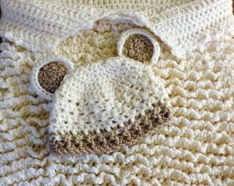 Crochet Baby Cocoon, Newborn Sack and Hat, Teddy Bear Cocoon Set