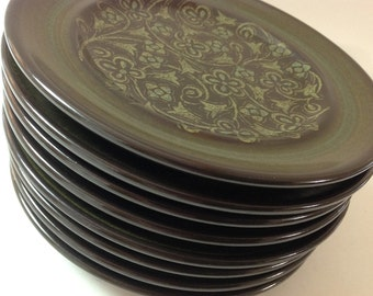 4 Franciscan Madeira Side, Bread, Dessert Plates, Brown, Green California Pottery Bread Plates, Set of 4