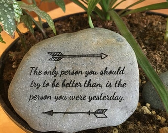 Engraved Stone, Inspirational Quote, Arrows