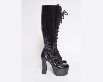 Vintage 90's Patent Leather Black Lace Up Chunky Heel Platform Boots