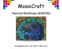 MosaiCraft Pixel Craft Mosaic Art Kit 'Peacock Raindrops' (Like Mini Mosaic and Paint by Numbers)