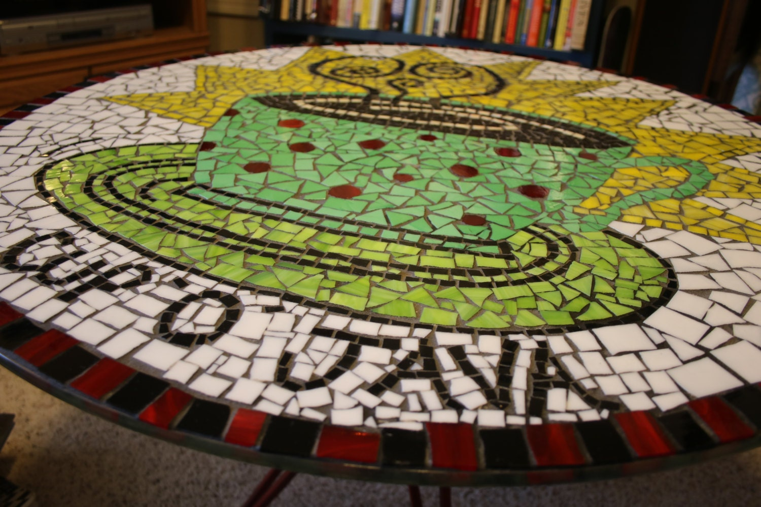 Stained Glass Mosaic Coffee Table Cup O Java Large Round Glass