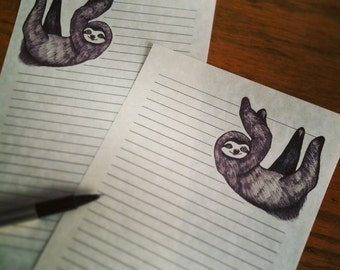 10 sheets~ Just Hanging Sloth Stationery 10 sheets & 5 Envelopes