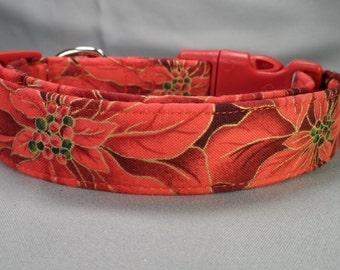 Red Poinsettia Christmas Dog Collar