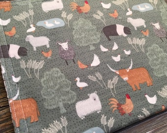 Burp Cloth ~ Animals//Forest//Nature//Farm//Sheep//Cow//Pig//Duck//Rooster//Chicken//Barnyard