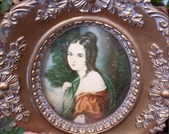 Vintage Cameo portrait in ornate frame