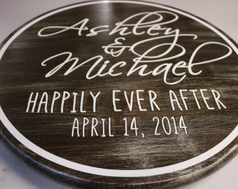 Personalized Happily Ever After Wood Sign ~ Wedding or Anniversary Sign ~ Custom Bride and Groom Name Sign ~