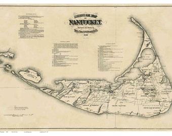 Nantucket 1869 Map - Historical Facts -  Ewer -  Reprint