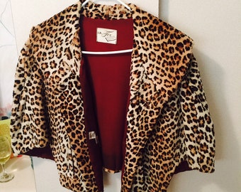 Vintage Mod Mad Men leopard fur cape 1960s