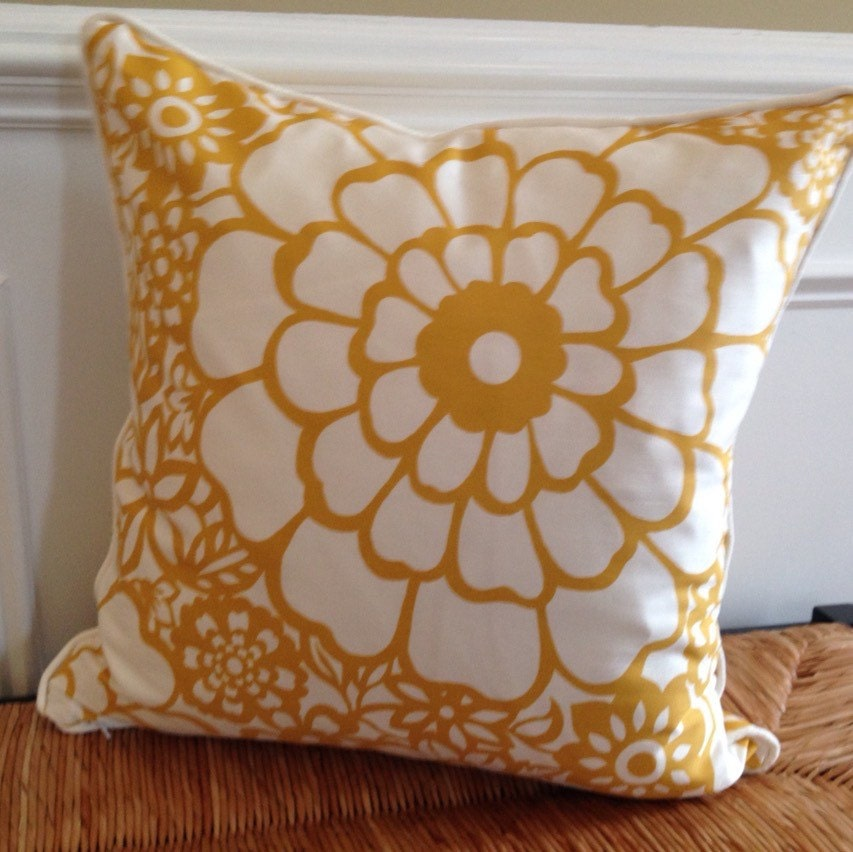 yellow flower pillow cover 20 x 20 floral by getcreativesewing. Black Bedroom Furniture Sets. Home Design Ideas