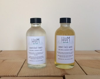 Honey Face Wash + Grapefruit Toner Set // Raw honey cleanser Witch hazel Natural skin care Organic green sensitive Under 50 Gifts for her