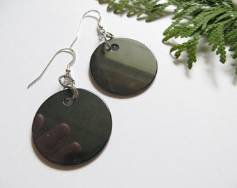 Hematite Earrings, Sterling Silver Earrings, Statement Earrings, Silver Drop Earrings, Light Disk Stone Earrings, Semi-precious Gemstone