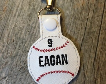 Personalized Baseball Keychain Bag tag