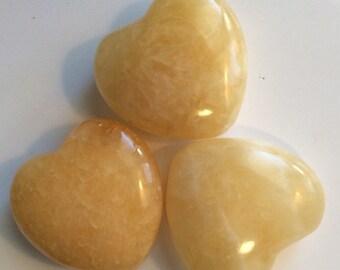 Orange Calcite Small Gemstone Puffy Heart, 30mm, Tumbled Stone, Healing Stone, Healing Crystal, Chakra Stones, Spiritual Stone