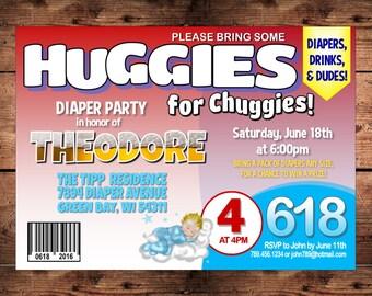 Diaper Shower Invitation for Dad - Huggies for Chuggies - Beer & Babies - Digital File