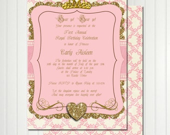 Princess Birthday, Princess Invitation, Pink And Gold Invitation,Once Upon  A Time Invitation